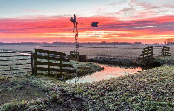 Spectaculaire zonsopkomst bij Bosman molen