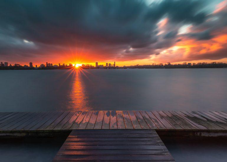 Zonsondergang aan de Kralingse Plas
