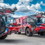 De nieuwe voertuigen van de luchthavenbrandweer Rotterdam The Hague Airport