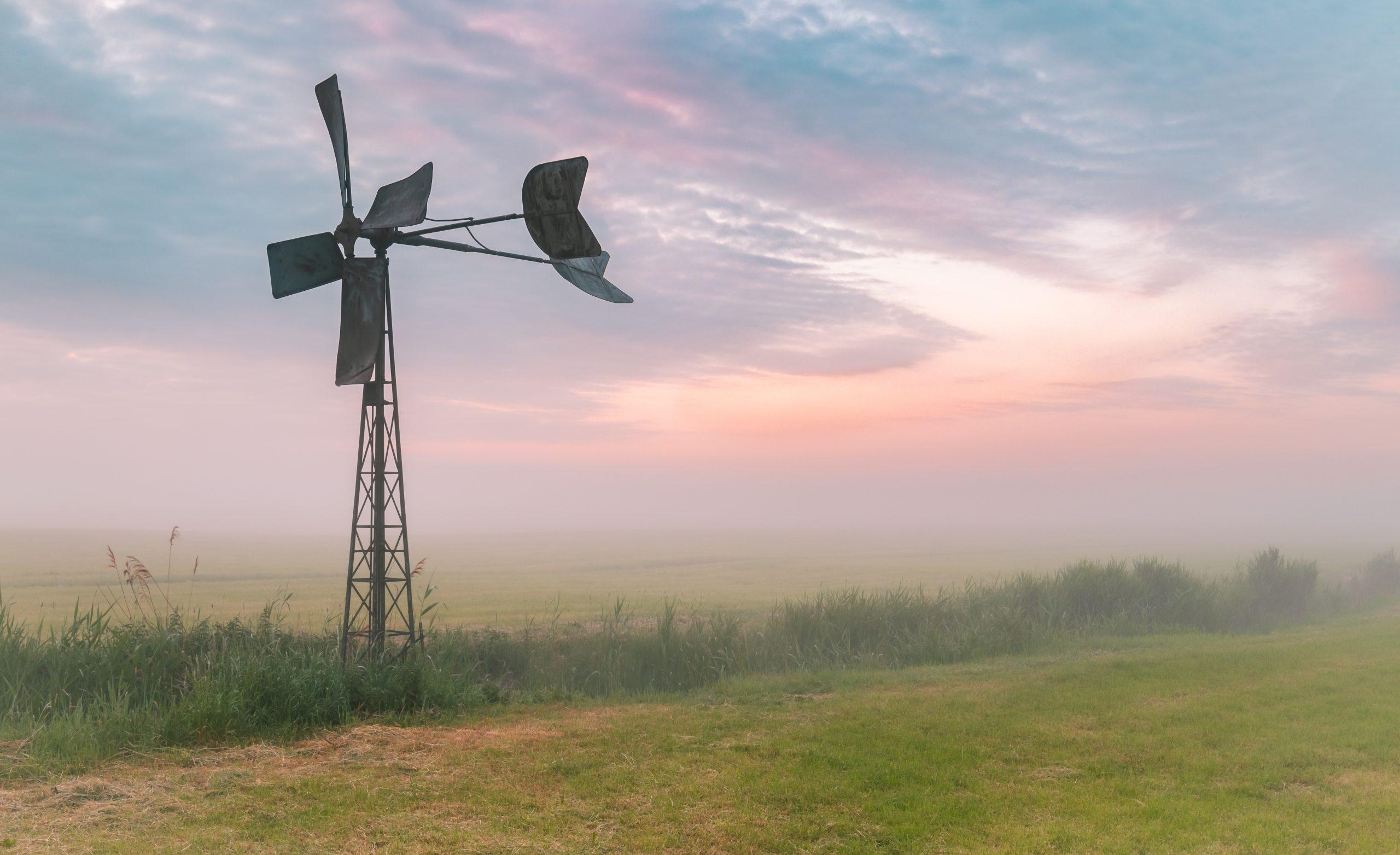 Bosmanmolentje met een zonsondergang