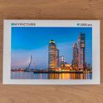 Doos puzzel - Wilhelminapier tijdens het blauwe uurtje (Rotterdam)