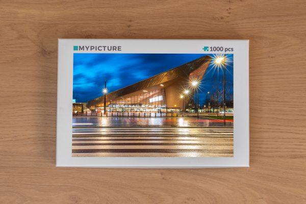 Doos puzzel - Centraal Station Rotterdam tijdens het blauwe uurtje