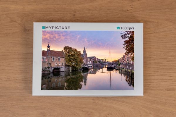 Doos puzzel - Knallende zonsopkomst in Historisch Delfshaven (Rotterdam)